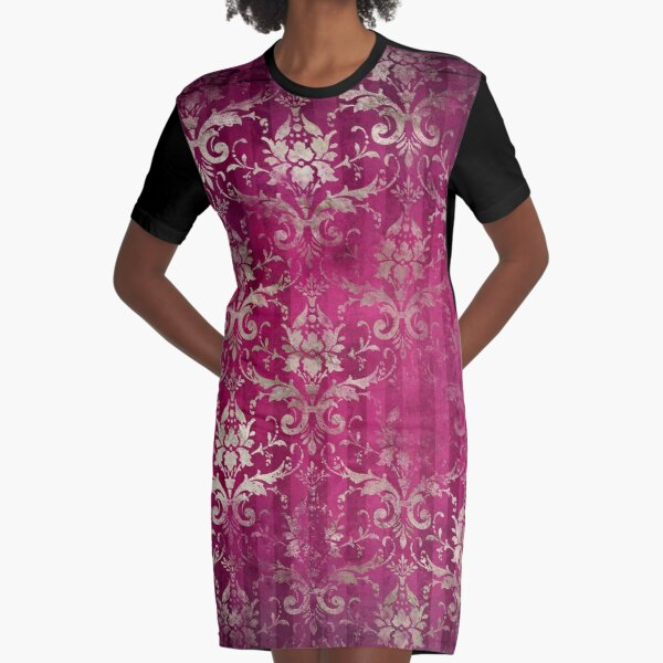 Vintage Distressed Gold on Pink Graphic T-Shirt Dress