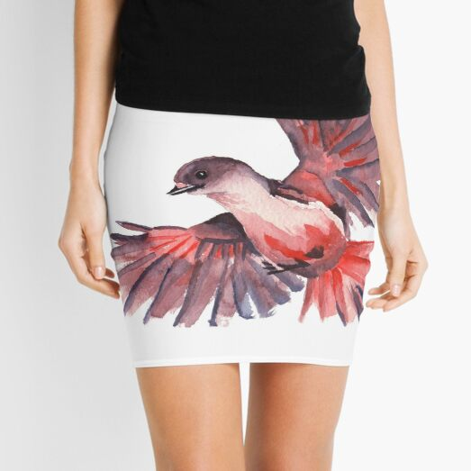 Watercolour bird Mini Skirt
