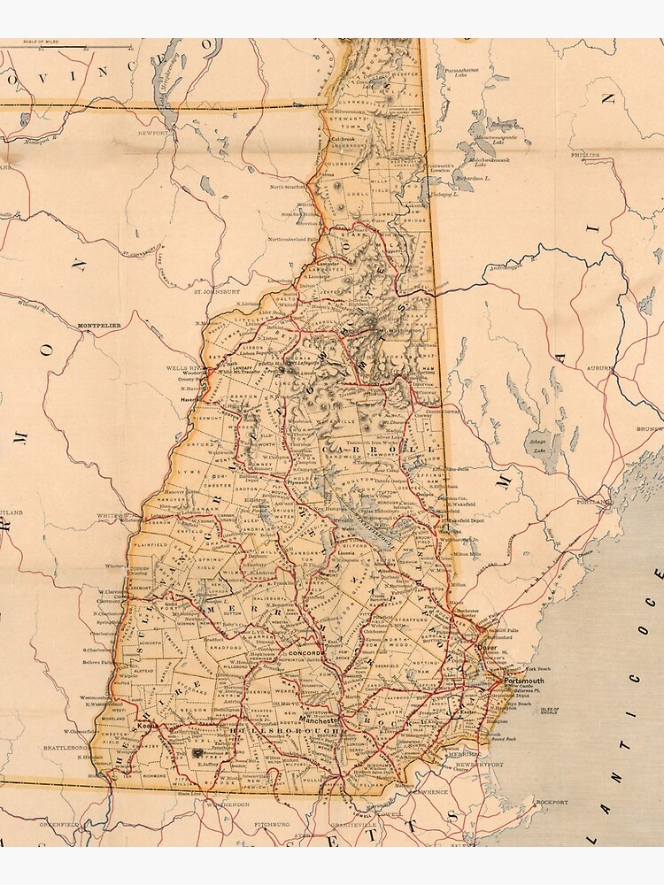 Vintage Map of New Hampshire (1890) by BravuraMedia