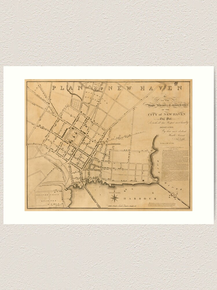 Vintage Map Of New Haven Ct 1827 Art Print By Bravuramedia Redbubble