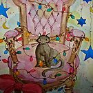 Christmas Cat on Chair by dkatiepowellart