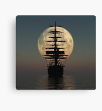 Pirate ship with full moon Canvas Print