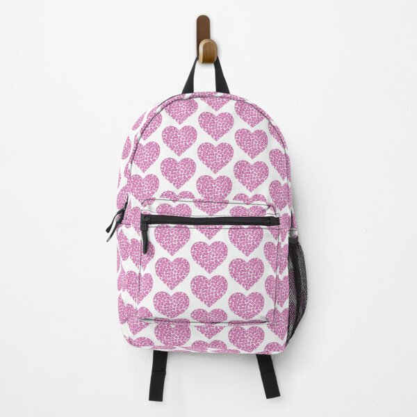 Pink and Purple Leopard Print Heart Backpack