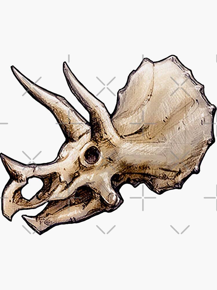 Dinosaur Skull Triceratops Sticker  by CassWArt