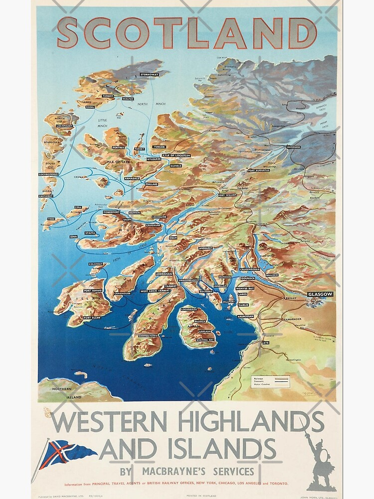 Scotland Western Highlands and Islands by MacBraynes Services Vintage Poster Print. by TMcG-Prints
