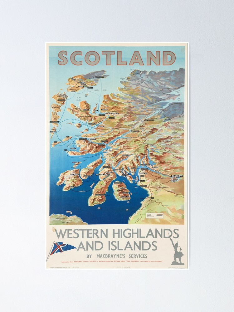 Alternate view of Scotland Western Highlands and Islands by MacBraynes Services Vintage Poster Print. Poster