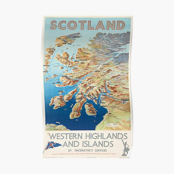 Scotland Western Highlands and Islands by MacBraynes Services Vintage Poster Print. Poster
