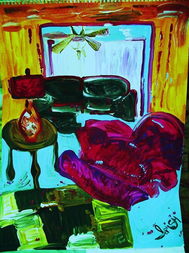 RECLINER IN A LIVING ROOM - acrylic, tempera, paper 22 x 28'' by irishrainbeau