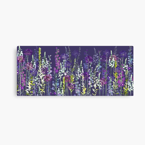 Purple Flower Meadow - Alliums, Delphiniums & Veronica Gentianoides Canvas Print