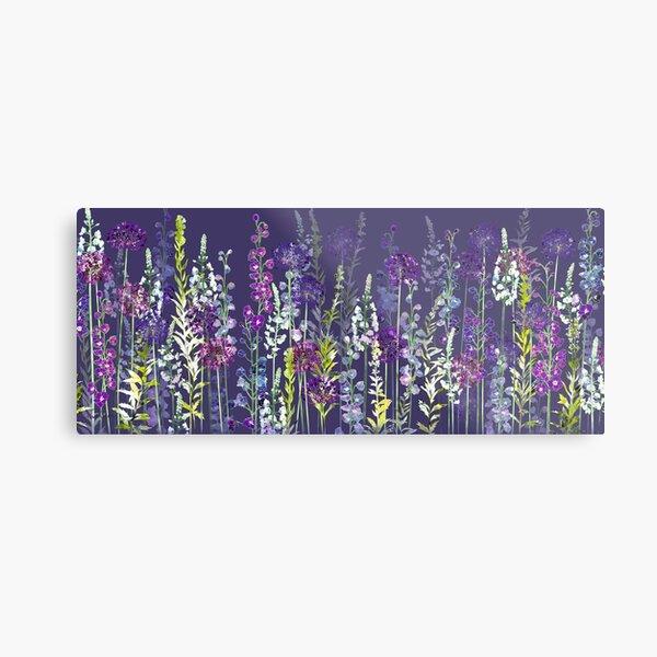 Purple Flower Meadow - Alliums, Delphiniums & Veronica Gentianoides Metal Print