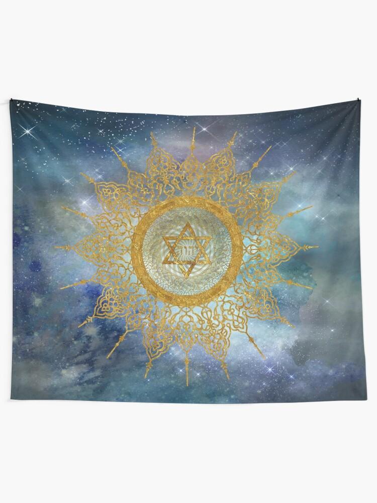 Alternate view of YHVH Gold Mandala Tapestry