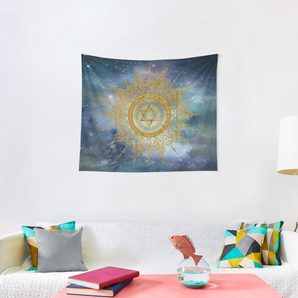 YHVH Gold Mandala Tapestry