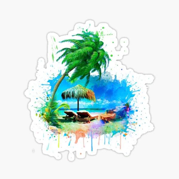 Strand und Palmen Aquarell Sticker