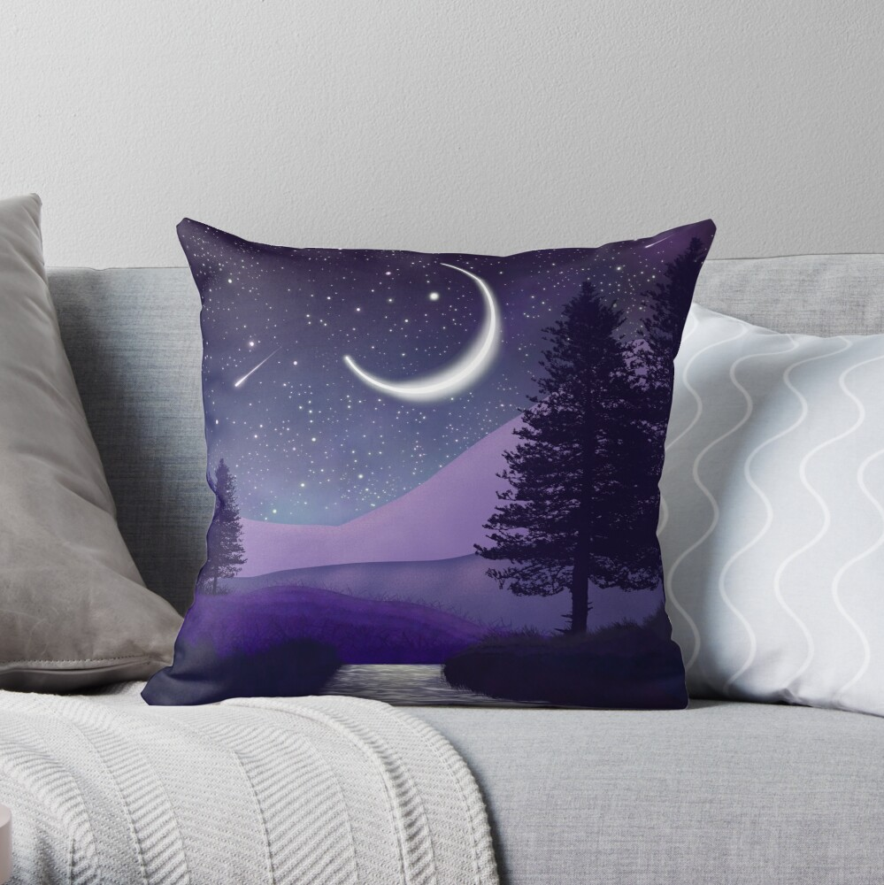 Magical landscape near the river Throw Pillow