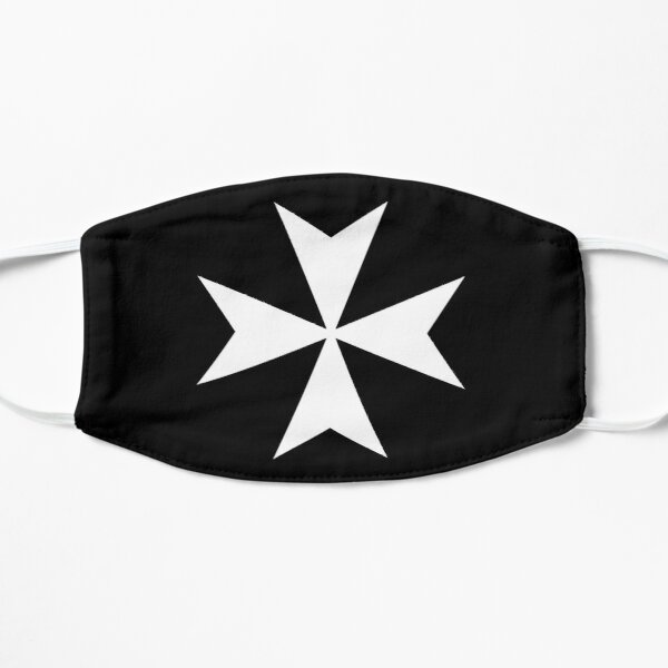 CROSS. MALTA. Maltese, Amalfi Cross, Maltese cross, Knights Hospitaller, WHITE on BLACK. Flat Mask