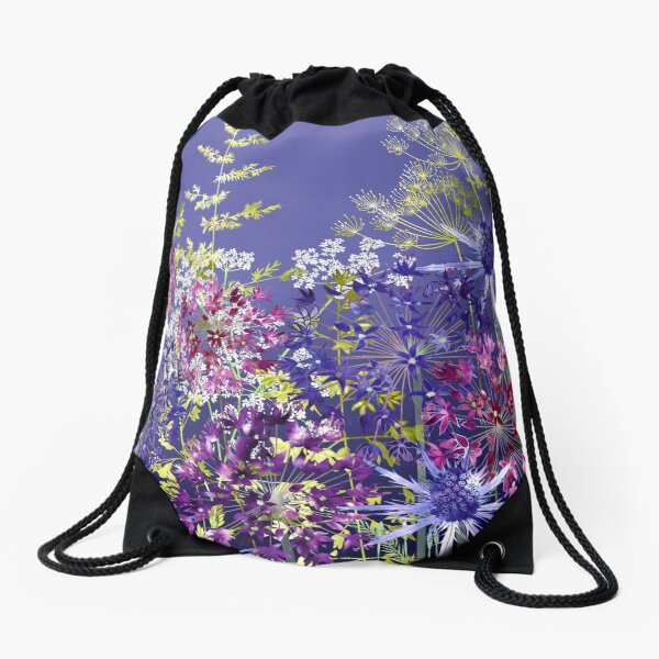 Midnight Garden Drawstring Bag