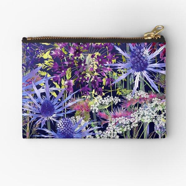 Midnight Garden - Sea Holly, Alliums, Cow Parsley & Grasses Zipper Pouch