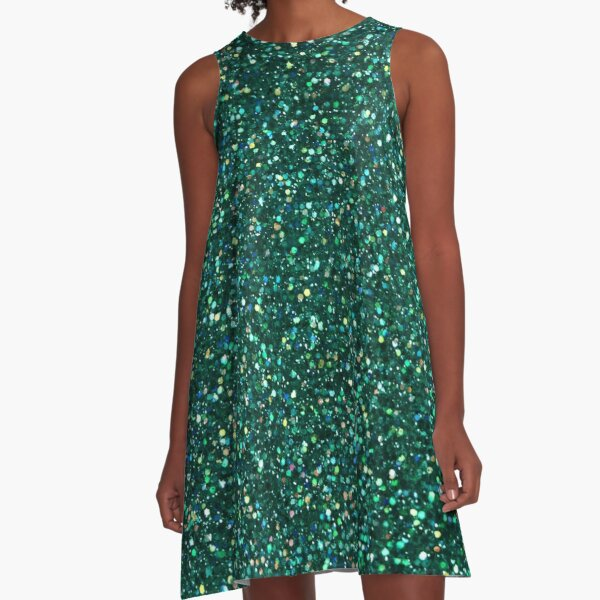 Sparkly Jade Green Peacock Glitter A-Line Dress