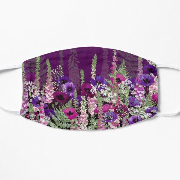 Flower Garden - Purple Poppies, Pink Foxgloves & Bracken Flat Mask