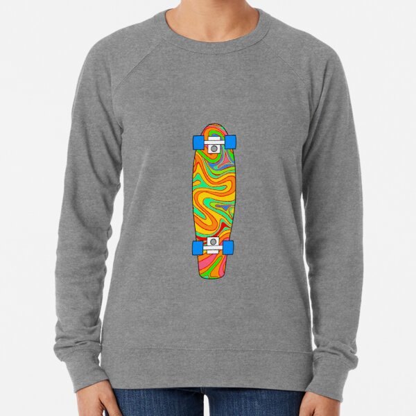 Trippy Rainbow Pattern Pennyboard Lightweight Sweatshirt