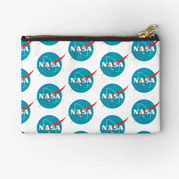 Vintage NASA 90s VHS Glitch Logo Space Travel Aqua Turquoise Apollo 11 Zipper Pouch