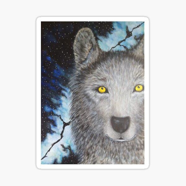 Large Galaxy Sky Wolf Sticker