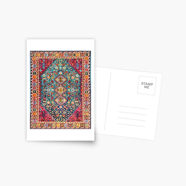 Oriental Colored Traditional Antique Moroccan Style Fabric Design Postcard