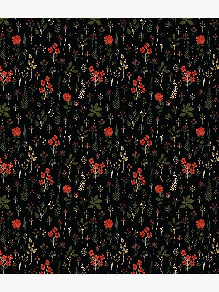 Green, Red-Orange, and Black Floral/Botanical Print by somecallmebeth