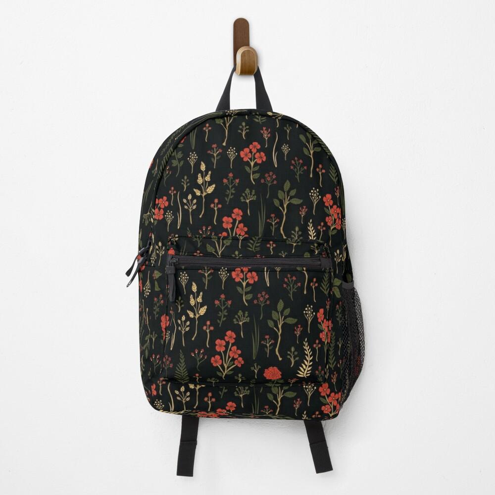 Green, Red-Orange, and Black Floral/Botanical Print Backpack