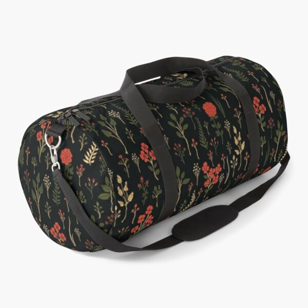 Green, Red-Orange, and Black Floral/Botanical Print Duffle Bag