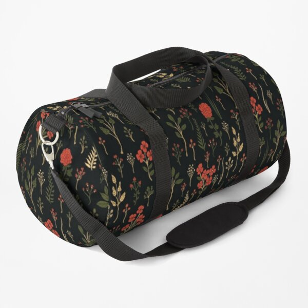 Grüner, Rot-Orange und schwarzer Blumen- / botanischer Druck Sporttasche