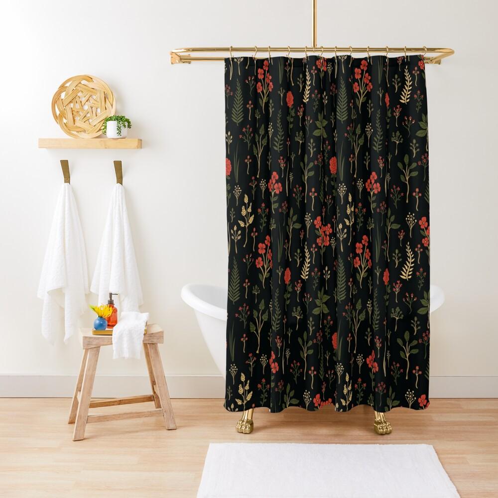Green, Red-Orange, and Black Floral/Botanical Print Shower Curtain