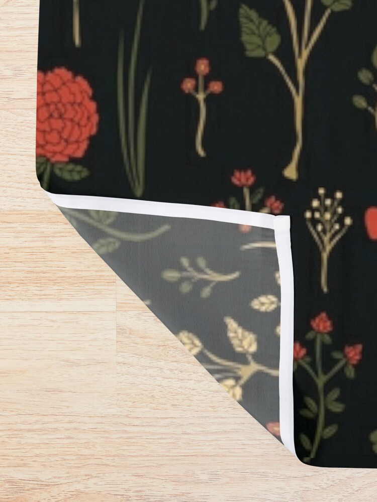Alternate view of Green, Red-Orange, and Black Floral/Botanical Print Shower Curtain
