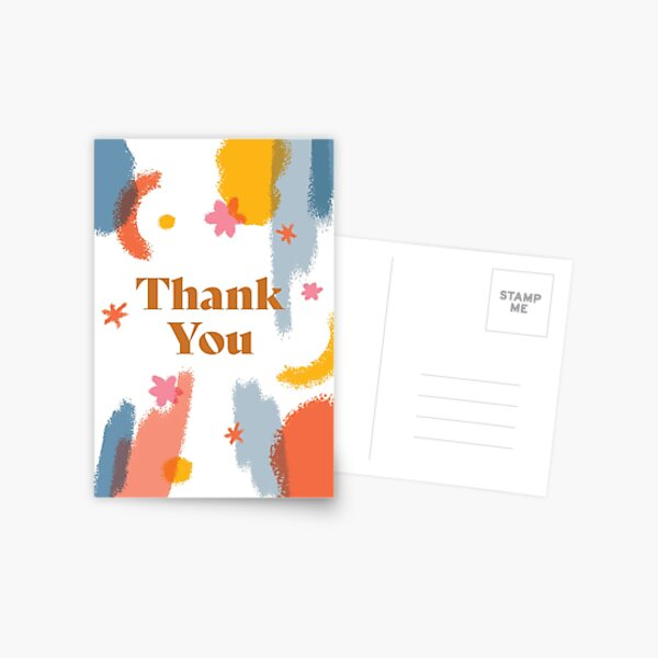 Thank You Card Modern Brush Strokes Postcard