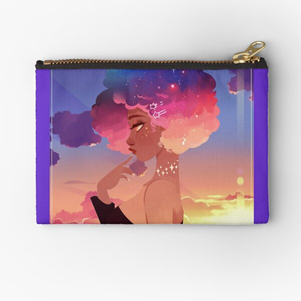 Space Rainbow Afro Zipper Pouch