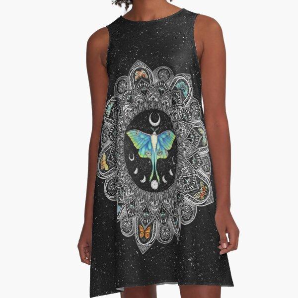 Lunar Moth Mandala with Background A-Line Dress