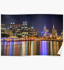Melbourne Skyline Reflections Poster