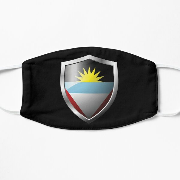 Strong Antigua and Barbuda Flag Shield Country Flat Mask