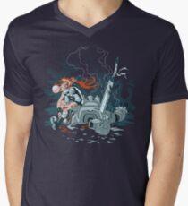 Cyberpunk Beatdown T-Shirt mit V-Ausschnitt