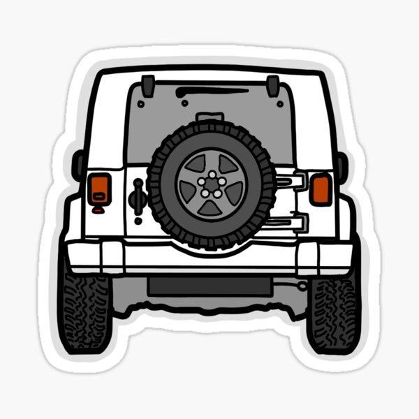 Jeep blanco (vista posterior) Pegatina