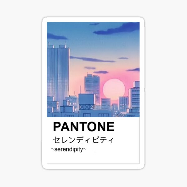 Pantone aesthetic anime city paint Sticker