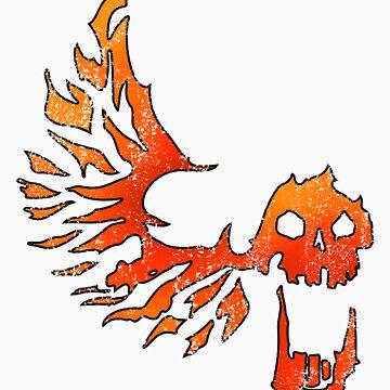 Bandit Flame Wing Skull by snailkeeper
