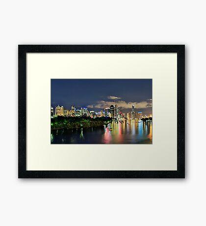 Blue Hour Brisbane River Framed Print