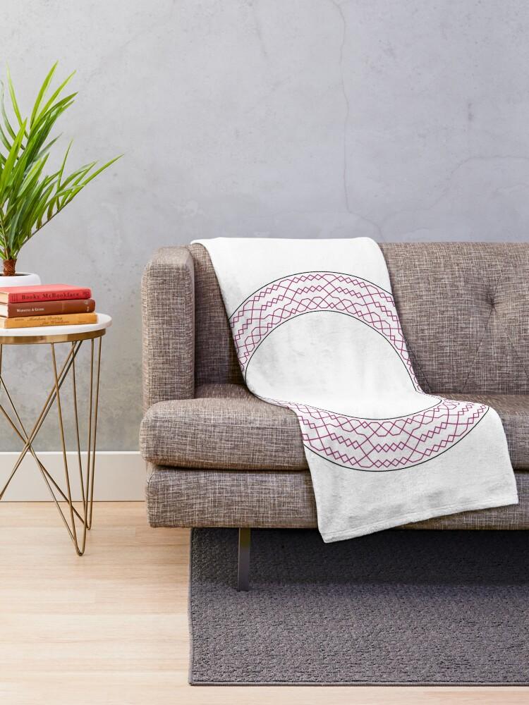 Alternate view of Stedman Triples Method Wreath — Blanket (Red) Throw Blanket