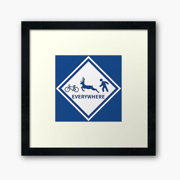 Bikes, Deer, Pedestrians - EVERYWHERE (Blue/White) Framed Art Print