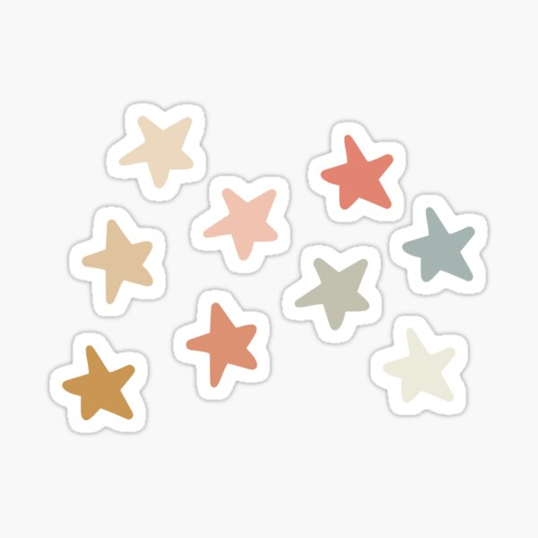Warm Earthy Neutrals Star Print Sticker