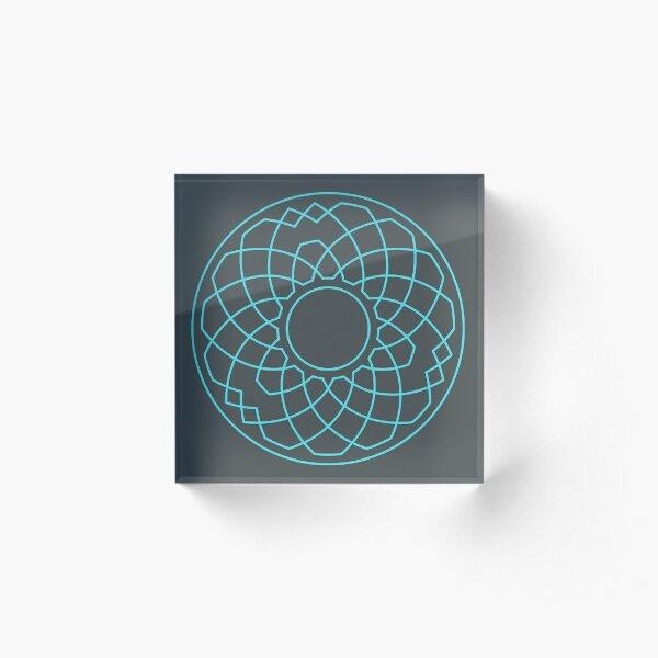 Grandsire Doubles Method Wreath — Coasters (Blue) Acrylic Block