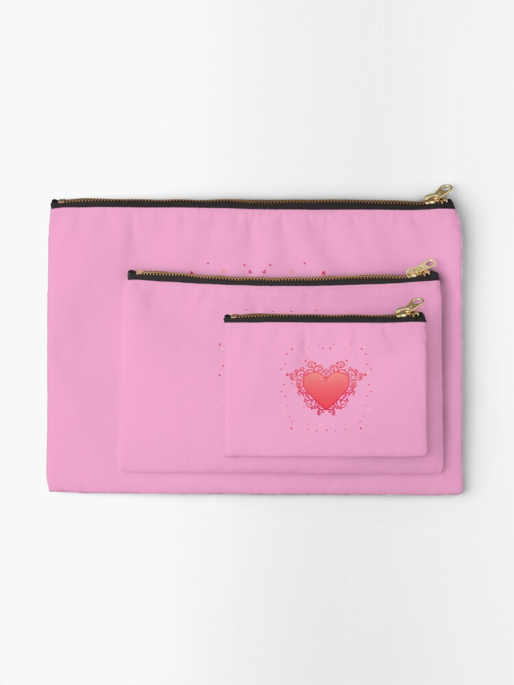 Alternate view of Elegant Red Heart Zipper Pouch
