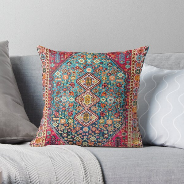 Oriental Colored Traditional Antique Moroccan Style Fabric Design Throw Pillow
