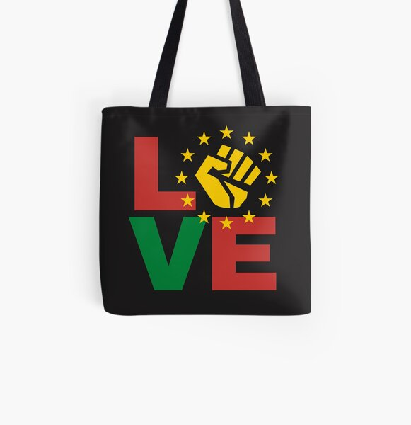 Love with yellow Black power fist All Over Print Tote Bag
